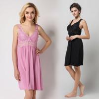 Fashion ultra soft sexy lace sleepwear lounge summer modal cotton spaghetti strap nightgown plus size available