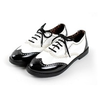 Oxfords Low Flats Big Size 32-43 Casual Flats shoes Patent leather Flats for women with Ruffles Black shoes RL482N