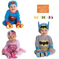2014l free shipping 6pcs/baby rompers baby cartoon long sleeve romper baby boy batman jumpsuit baby girls superman romper +hat