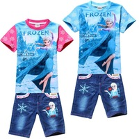 New 2014 Frozen Clothing Set Fashion Elsa&Anna&Olaf Printing Girls T-Shirts&Jeans Suits Cute Cartoon Cotton Kids Clothes C30