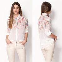 [Unbeatable At $X.99] Autumn Women Sweet Turn Down Collar Long Sleeve Flower Print Chiffon Shirt Female Blouse camisas femininas
