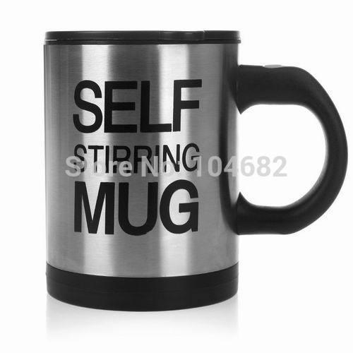 Free Shipping Automatic Plain Mixing coffee Tea cup Lazy Self strring mug button Pressing Black(China (Mainland))