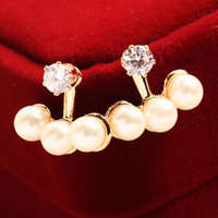 free shipping Fashion brief 2014 personality pearl after crystal diamond stud earring female