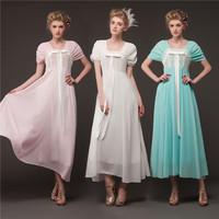 Women  European and American Retro 1960s 1970s Vintage Royal Dresses For Women Short-sleeve Chiffon Lace  Elegant Dress 8028#