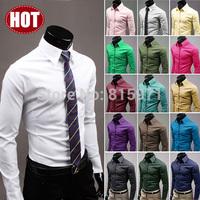 High quality Colorful men shirts slim cut stylish men clothing large size men dress shirts 6492