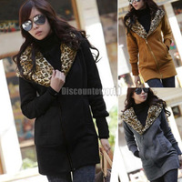 2014 Fashion Women Ladies Leopard Long Zip Sweatshirt Hoodie Top Coat Jacket Hoody Black Gray Camel M L