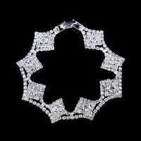 Trendy bracelet 2014 fashion silver plated rhinestone bracelet flower square bracelet bangle crystal bracelets for women