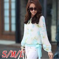 2014 Chiffon flower lantern sleeve lacing belt loose chiffon shirt chiffon top 7010W