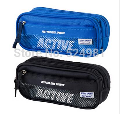 Free Shipping Wholesale Retail Multifunctional Pen Bag Durable Pencil Case Multi-Layer Pencil Bag Big Capacity Storage Bag(China (Mainland))