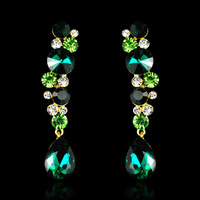 (Min Order.10USD) fashion tear drop earrings silver shining crystal earrings  for women, zinc alloy  dangle earrings
