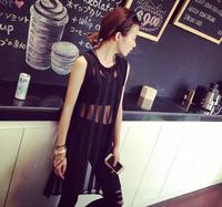 The 2014 European Street Fashion vest skirt black vertical stripes hollow skirt.