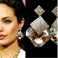 (Min Order.10USD)  famous brand  jewelry  Sparkling dangle square crystal earrings no pierced earrings