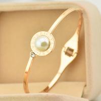 Brand Luxury big pearl brand logo thin bracelet Bangles two colors Titanium Rose Gold Bracelet Bangle Jewelry Women Acessories