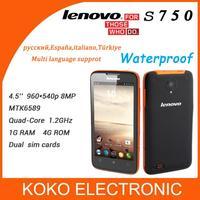 Waterproof lenovo s750 IP67 smart phone with GPS WIFI Multi language cellphone MTK6589 quad core 1G RAM