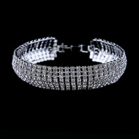 (Min Order.10USD)  High quality luxury crystal rhinestone bracelet silver plated  bracelet free shipping
