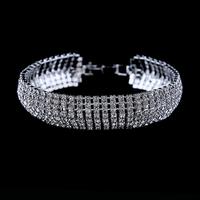 (Min Order.10USD)  High quality luxury crystal rhinestone bracelet silver plated  bracelet free shipping