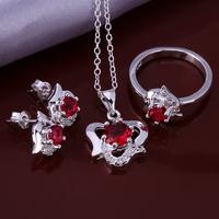 Wholsale new FASHION jewelry  925 Sterling Silver earrings ring necklace set Penoyjewelry LKNSPCS655