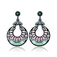 (Min Order.10USD) Hot fashion 2014 big vintage drop earrings women resin round  earrings