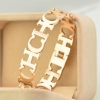 Brand Luxury wide letters  bracelet Bangles Titanium Rose Gold Bracelet Bangle Jewelry Women Acessories