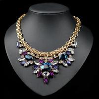 (Min Order.10USD) 2014  fashion jewelry Luxury crystal  necklace chocker chunky bee pendant chain women personality
