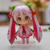 Free Shipping 1pc Cute 10cm Nendoroid Vocaloid Hatsune Miku Sakura Pink Set PVC Action Figure Model Collection Toy #97