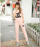 Summer new women's candy-colored CC embroidered short sleeve casual sportswear suit a variety of colors
