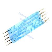 5pcs/set 2 Ways Steel Dotting Paint Marbleizing Pen Nail Art Decoration Tool blue