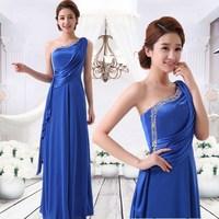 2014 evening dress/ Single oblique shoulder dress/ blue elegant long design slim evening dress