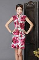 2014 New Summer Fashion Cheongsam Chinese National Style Retro Print Dress Costume 4449#G671 - Free Shipping