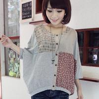 Hot,2014 summer new  women's  loose plus size High quality Linen Cotton three quarter batwing shirt