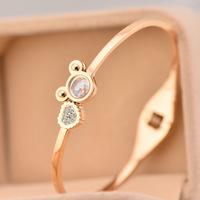 Brand Luxury Crystal Imitated diamond lucky mikey bracelet Bangles Titanium Rose Gold Bracelet Bangle Jewelry Women Acessories