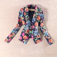 new 2014 European style slim plus size print blazer women / women floral jacket coat / lady blazer