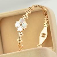 Brand Luxury clover with white shell thin bracelet Bangles Titanium Rose Gold Bracelet Bangle Jewelry Women Acessories