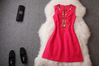 2014 brand new women's spring summer fashion wear European top brand fashion print ol dress  elegance party dress T1798