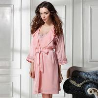 new 2104 silk sexy women pajama sets / quality embroidery women robe elegant women sleepwear nightgwon 2 pieces Free shipping