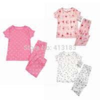 2014 Autunmn pink baby girls cotton pajamas two-pieces suit Free shipping (1set) retail 2~4age kid apparel