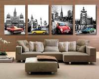 4 Piece Free Shipping Modern Wall Painting Black and White Building Car Home Wall Art Picture Paint on Canvas Prints A936