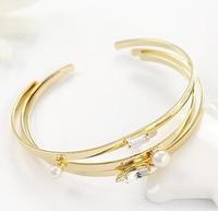 2014 New Fashion Luxury Korean 18K Gold Plated Rhinestone Imitation Pearl Opening Bangle Bracelet --3pcs/set