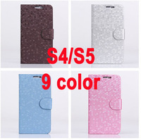 50 pcs/lot PU Leather Wallet Style Stand Function & Card Slots cover case For samsung galaxy S5 i9600 S4 i9500