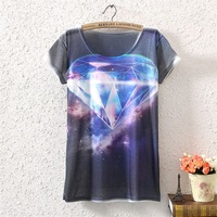 2014 New Fashion Vintage Spring Summer Womens Short Sleeve Galaxy Diamond Graphic Print T Shirt Tee Blouse Tops Printing Blouses