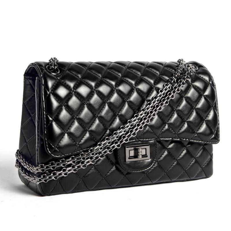 Luxury Famous Brand Real Sheepskin handbags Vintage Elegant women messenger bags Classic Chain Flap Super star's bags(China (Mainland))