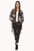 Spring Autumn New 2014 Women's Chiffon Japan Kimono Open Stitch Tassel Coat With Floral Print Outwear Free Shipping