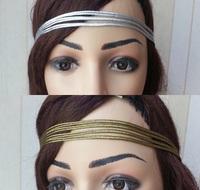 1pcs women's simple style good elasticity headband fashion gold silver color hair wear sport hair accessories