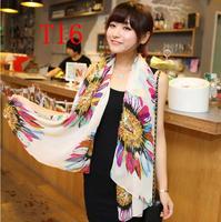 Chiffon Fashion autumn -summer ice silk Scarf  Tassel  Scarf, Stole, Shawl, wrap, Long size Cape for women / girl, ,   T16