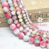 """Hot Sale 4,6,8,10,12mm Multicolor Jade Round Loose Stone Beads Aaa+ 15.5""""/strand Pick Size Free Shipping(f00038) Aa"""