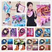 Fashion Brand Big Size 90x90cm Imetated Silk Square Scarf Women  High Quality  Imitated Silk Satin Scarves Polyester Shawl Hijab