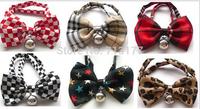 2014New 6 Designs 7 Colors,7 pcs/lot Pet Accessories Pet BowTie Neckties ,Cat Adjustable Collar Bowtie,Puppy Bow Tie Neckties