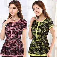 2014 Women Shirt  New Fashion Spring Summer Autumn Chiffon Blouses Elegant Puff Sleeve Plus Size Shirt Women Slim Tops