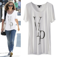 Fashion brief fashion comfortable loose thin medium-long casual o-neck short-sleeve cotton female T-shirt basic shirt