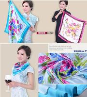 Fashion Brand Big Size 90x90cm Imetated Silk Square Scarf Women   Imitated Silk Satin Scarves Polyester Shawl Hijab
